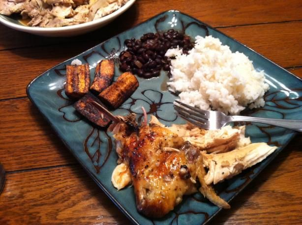 Cuban Garlic Chicken - so yummy! I added onions and peppers, & served w/ black beans, rice, and plantains