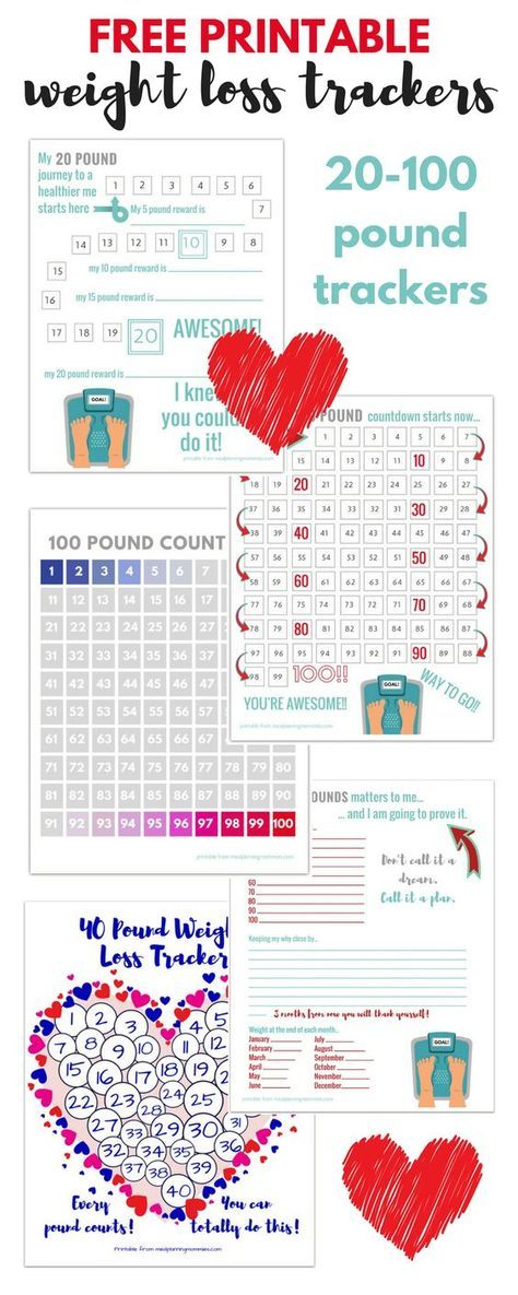 Free Printable 20 100 Pound Weight Loss Trackers Tummy Control