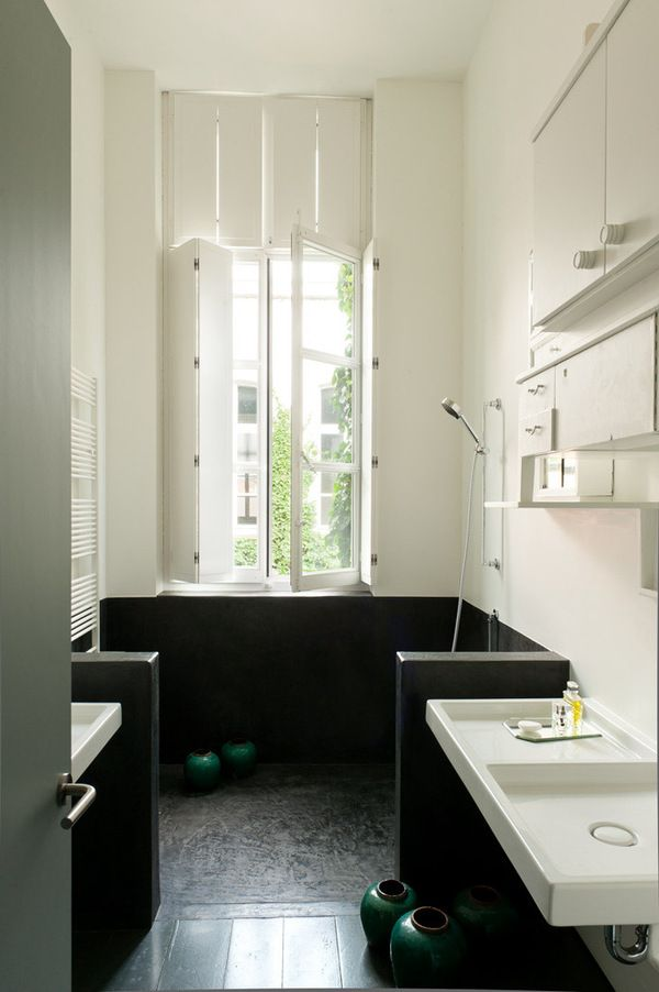 Big open shower in the home of Veerle Wenes. Designed by Lens°Ass Architects. Photograph by Verne.