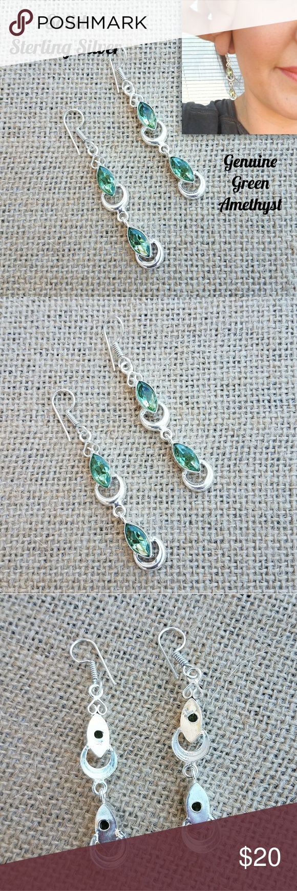 "🌹SALE Green Amethyst Sterling Silver Earrings 🌹I'm currently running an additional sale. See listing at the top of my closet for details.🌹  REDUCED! PRICE FIRM UNLESS BUNDLED!   These earrings are new. They're solid sterling silver with genuine Green Amethyst stones. They're approximately 2.8"" long & 925 stamped (4th pic).  *This is handmade, so it's not perfect. Please look at the pics carefully. They're part of the description. Jewelry Earrings"
