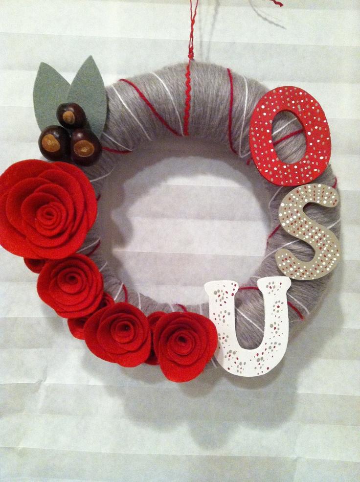 "10"" Yarn wreath Ohio State. $40.00, via Etsy."