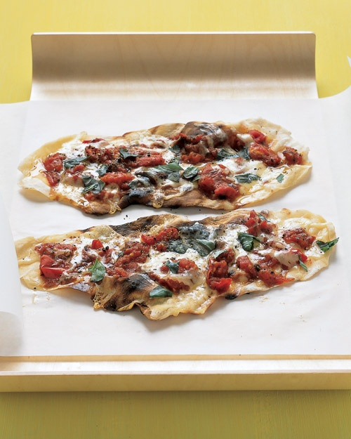 Grilled-Tomato Pizzettes With Basil and Fontina Cheese - 1/2 recipe ...