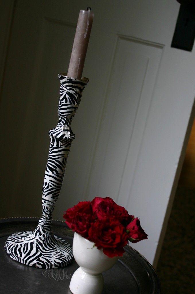 DYI zebra candlestick