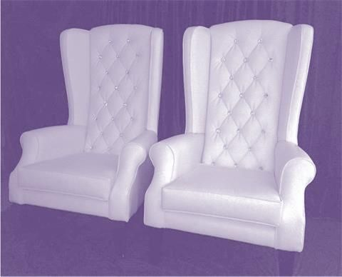 Bride and groom chairs white