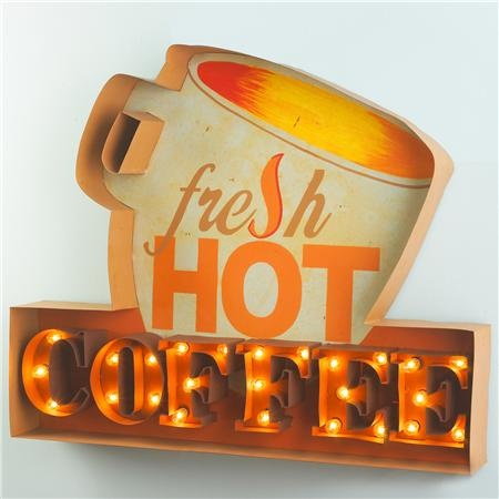 Lighted Hot Coffee Sign. This would stop me dead in my tracks! <3