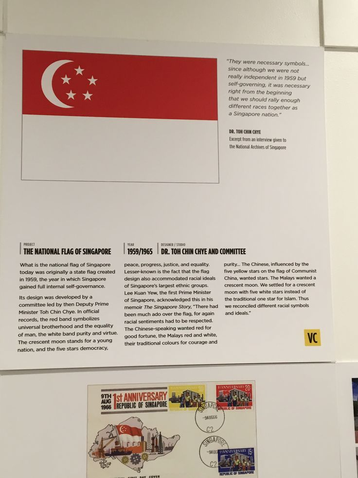 "Our national flag was adopted in 1959, the year Singapore became self-governing within the British Empire. And was later reconfirmed as the national flag when we gained independence in August 9, 1965. The flag is now our identity. The red symbolises ""universal brotherhood and equality of man"". The white, ""pervading and everlasting purity and virtue"". The waxing crescent moon ""represents a young nation on the ascendant"". The five stars ""stand for the nation's ideals of democracy, peace…"