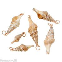 5PCs Rose Gold Shell Charm Pendants Conch Natural