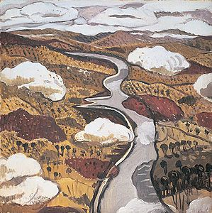 Title: Flying over the Shoalhaven River Margaret Preston was an ardent admirer of Aboriginal and Chinese art. This work owes much to these traditions in terms of colour, composition and the map-like view of the landscape.