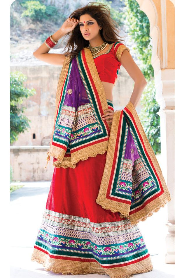 Red Color Designer Lehenga Choli Set Color- Red . Fabric-Net And Georgette .