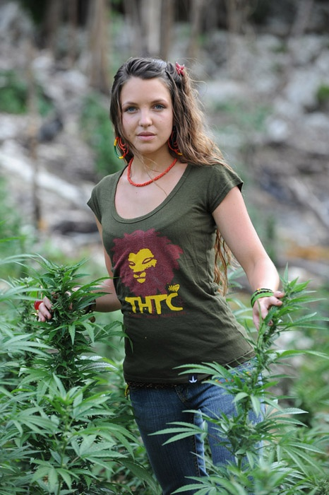 Aruba Red in THTC's 'Chant Down Babylon' t-shirt