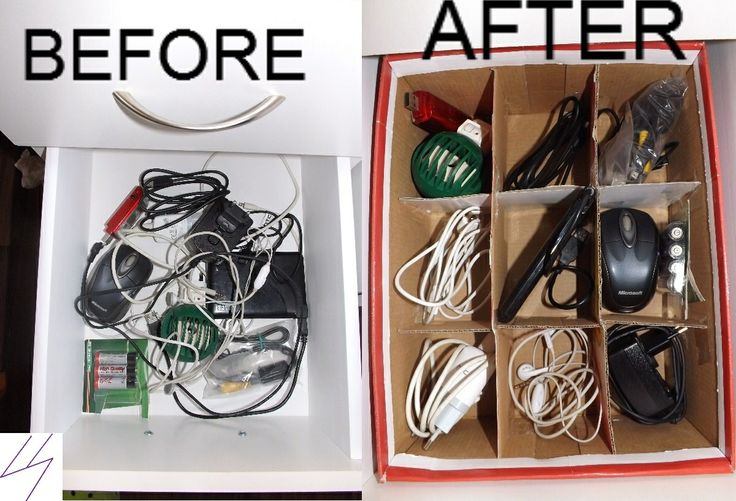 how to solve the problem with the cables in your drawer thank to the shoebox