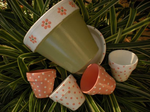 Painted Flower Pots for Wedding Favors and by HappyMooseGardenArt, $3.00