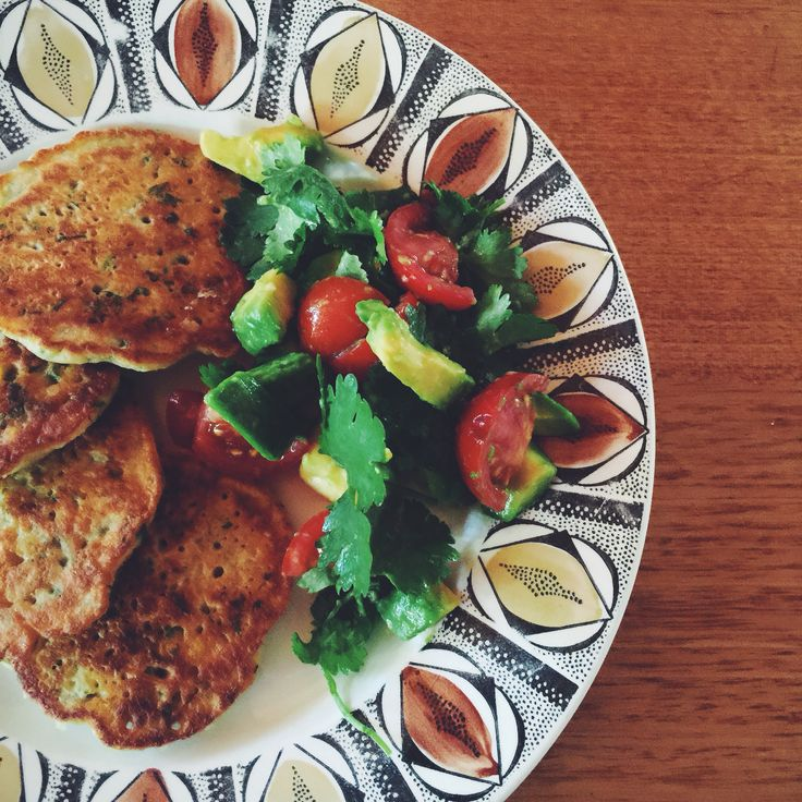 Corn Fritters with Avocado Salsa.