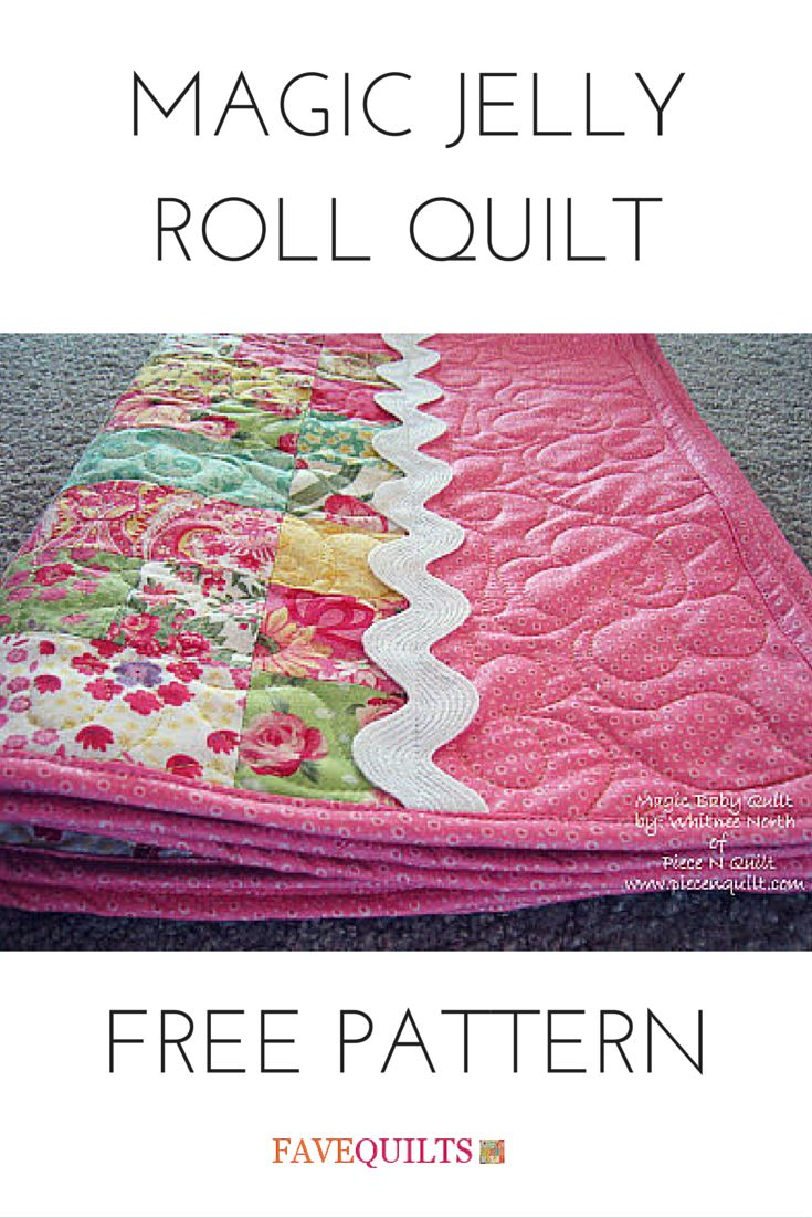This jelly roll quilt pattern is complete with a ric rack accent. Love it!