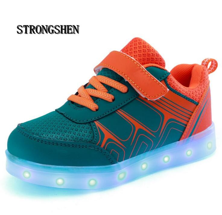 STRONGSHEN USB charging Kids Sneakers Fashion Luminous Lighted Colorful LED lights Children Shoes Casual Flat Boy girl Shoes