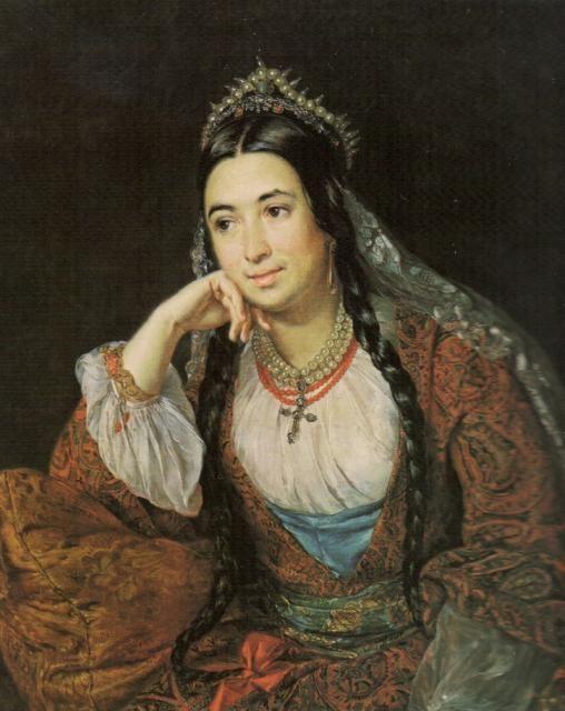 Василий Андреевич Тропинин - Портрет писательницы В.И. Лизогуб, 1847,  ГРМ / Vasily Tropinin - Portrait of a Writer V.I. Lizogub