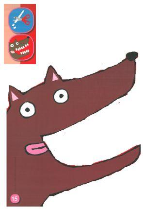 wolf, kleikaart, plasticine knippen, tanden