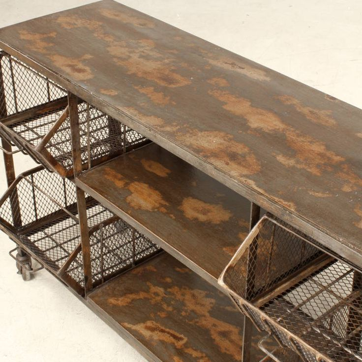 Wire tray low console shelving | Vintage tables from Andy Thornton Ltd