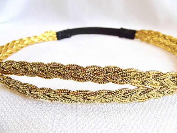 Gold Headband, Stretchy Headband, Gold Rope Headband