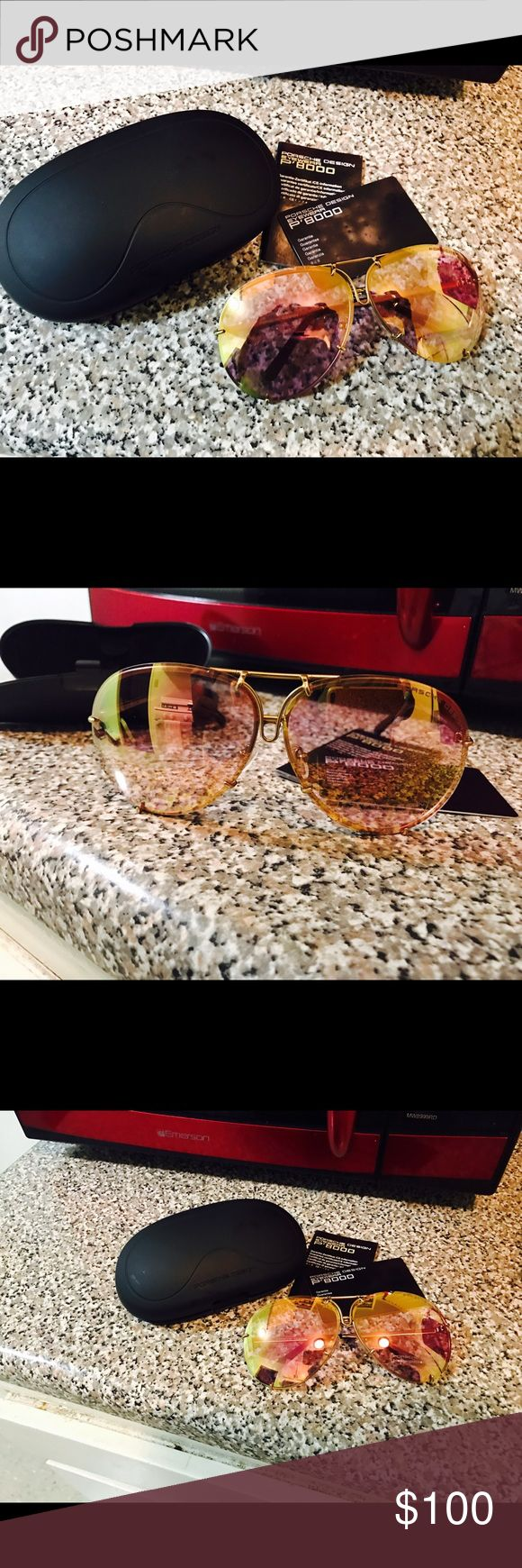 Name brand sunglasses Authentic Porshe design sunglasses (P'8000) frame color : gold / lens color : mirrored pink comes with case and authenticity cards porshe Accessories Sunglasses