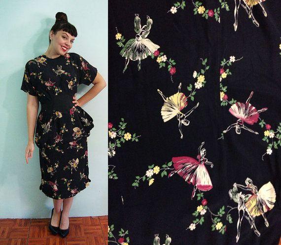 40s Large Surreal Ballet Print Rayon Skirt Blouse Set - Ballet dancer flowers -  Dress  Novelty Print Kitsch - Vintage on Etsy, $225.00