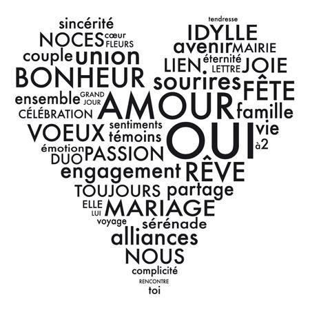 Tampon bois - Cœur de mots - 6,4 x 6,4 cm