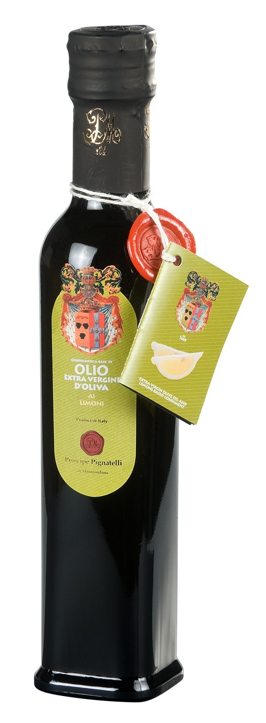 """Prince Pignatelli Lemon Olive Oil Condiment This condiment is obtained by simultaneously squeezing Sorrento fresh lemons with newly picked olives of the """"Gentile di Larino"""" variety. This procedure makes the oil absorb the characteristic perfume of the lemons. Suitable for all styles of Mediterranean cooking and best when added after cooking. http://www.bestfromitaly.us/Principe_Pignatelli/Lemon_Olive_oil.htm"""