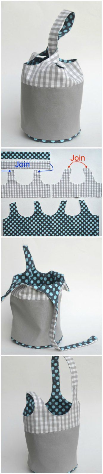 Free sewing pattern and full photo tutorial for this fully-reversible bucket tote bag. I'm making some in nursery fabrics as baby shower gifts - handy and they hang up too.