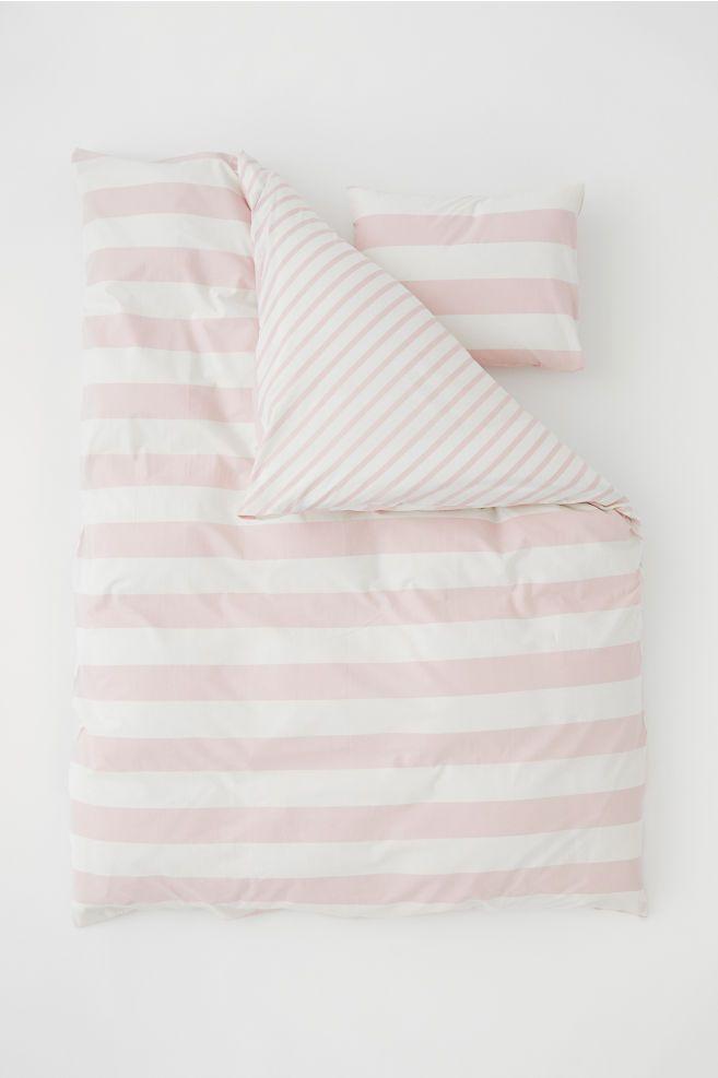Striped Duvet Cover Set Pink Natural White Home All H M Ie 1 Pink Duvet Cover Striped Duvet Covers Duvet Cover Sets