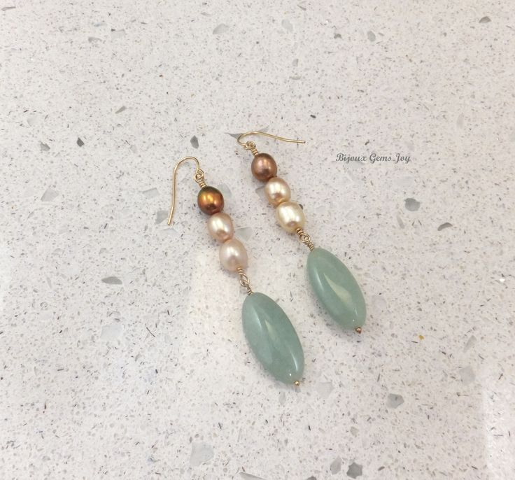 Meant to Be Earrings, Jade, Freshwater Pearls (dyed), 14Kt Gold (GF) by BijouxGemsJoy on Etsy