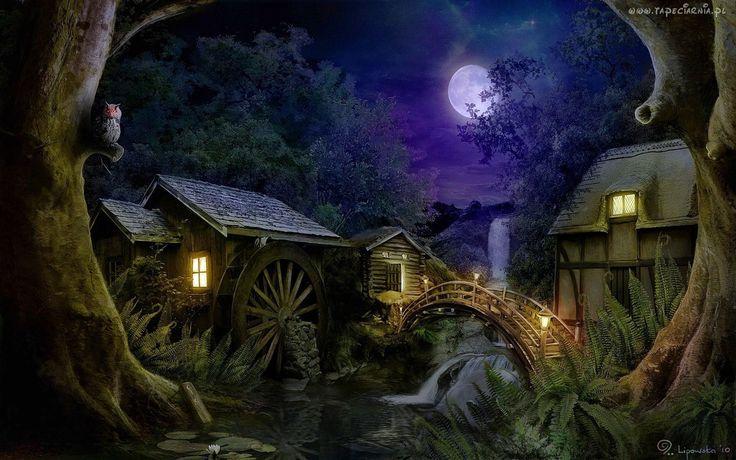 Oświetlone, Domy, Młyn, Most, Rzeka, Drzewa