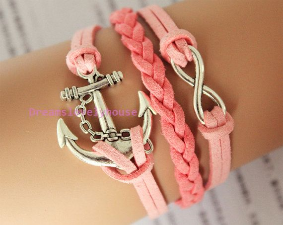 Christmas gift, Antique Silvery Anchor Infinity Charm, Pink Leather Cords, Silvery Jewelry, Charm Bracelet, Personalized  C-15 on Etsy, $5.99