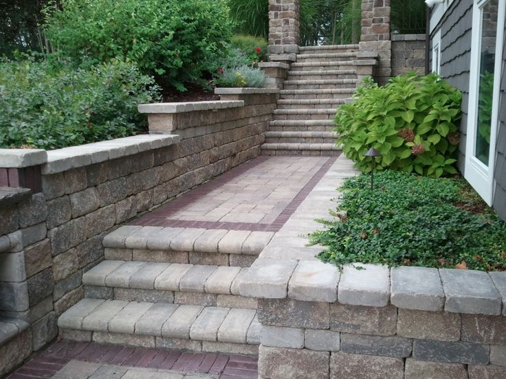 You can use pavers to create a visually interesting pathway and steps. Great design using our stone by our partners at Dave's Lawnscaping!