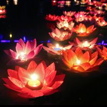 10pcs Multicolor silk lotus lantern light with candle floating pool decorations Wishing Lamp birthday wedding party decoration(China)