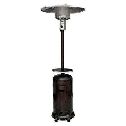 garden sun tall propane patio heater with table hammered