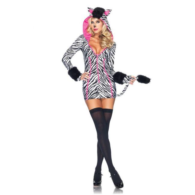 Sexy zebra kostuum voor dames. Een sexy zebra jurkje met aangehechte capuchon met hanekam bovenop, vingerloze handschoen mouwen en een staart. Carnavalskleding 2015 #carnaval