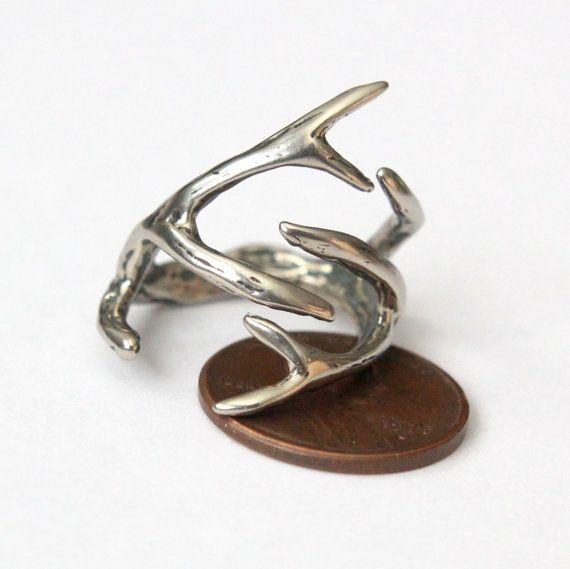 Deer Antler anello argento Cervi Antler in tinta bianco di mrd74