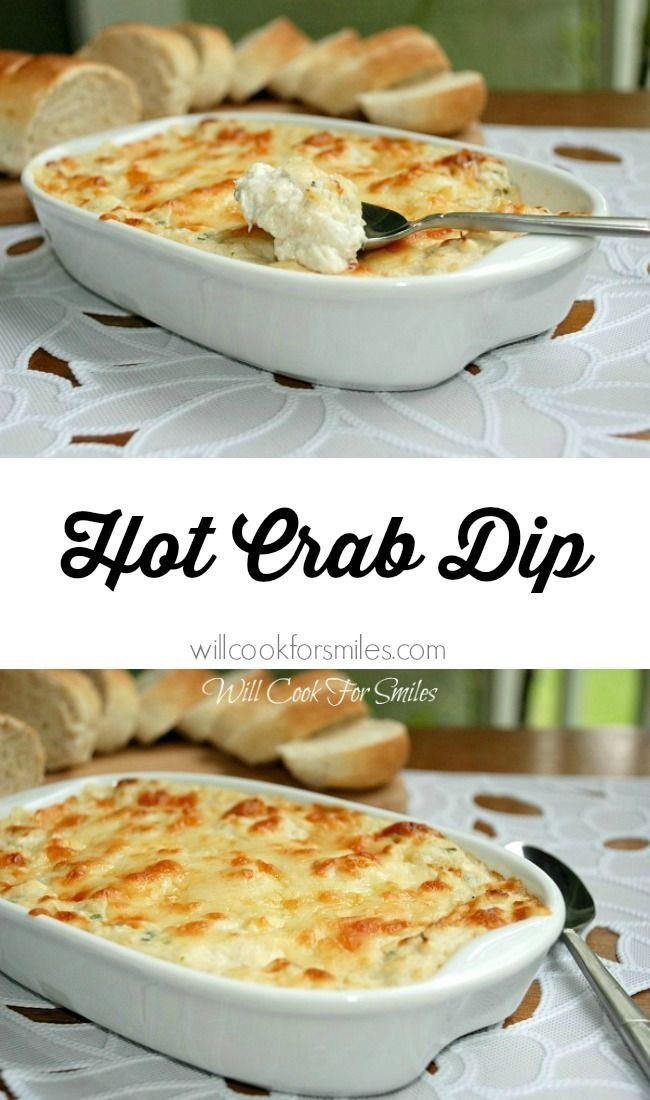 Absolutely incredible Hot Crab Dip!  It's made with crab meat, cream cheese, lots of other cheese and baked to perfection! from willcookforsmiles.com