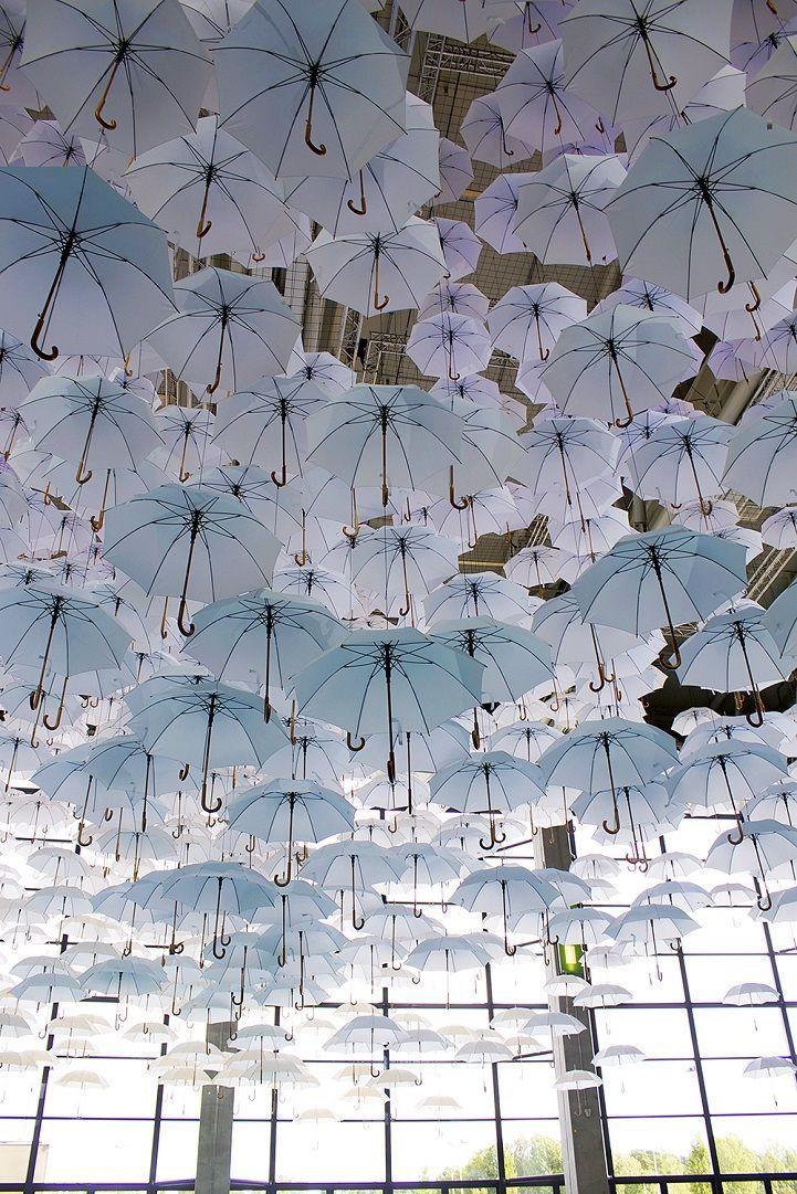 White umbrella installation | sculpture | art | sculpture art | umbrella art