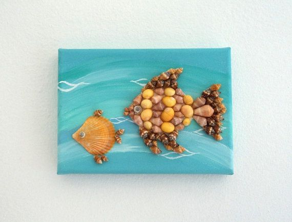Acrylic Painting, Artwork with Seashells, Art Wall Picture of Goldfish, Goldfish in Seashell Mosaic, Mosaic Art, 3D Art Collage, Home Decor, Wall Decor #ArtworkwithSeashells #mosaiccollage #seashellmosaic #homedecor #walldecor #3D
