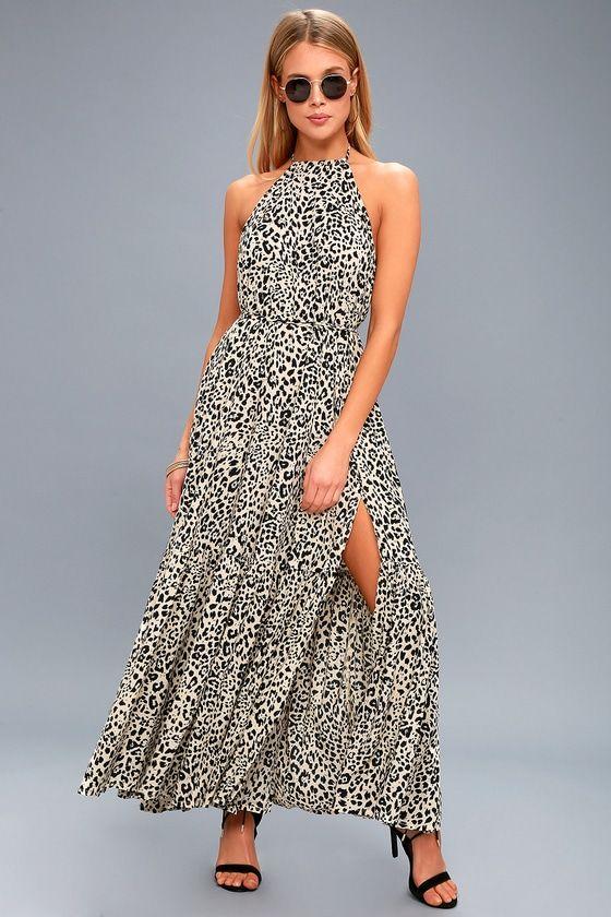 6e0f5b7a7b Take it breezy in the KIVARI Roma Beige Leopard Print Halter Maxi Dress!  Lightweight woven rayon, in a cute black and beige leopard print, falls  from tying ...