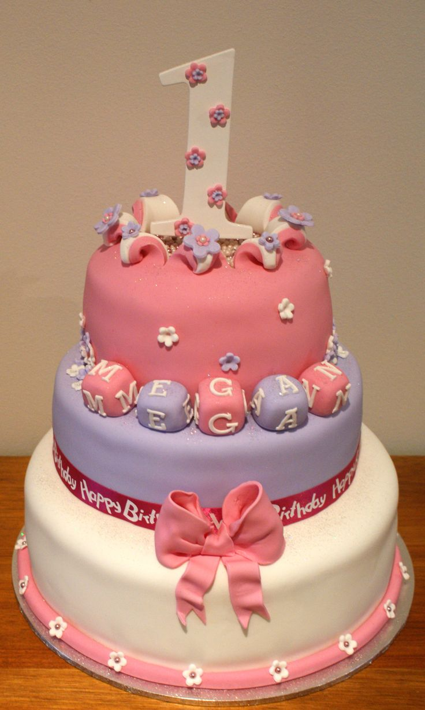 Number 1 Birthday Cake, Girls, - 3 Tier Birthday Cake for a Little Girl.