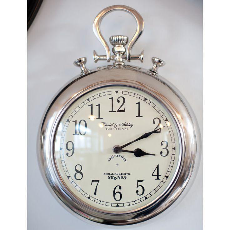 Pocket watch silver wall clock - Giant stopwatch wall clock ...