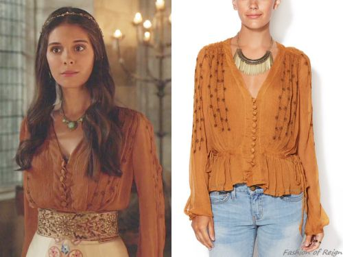 In Reign 2x11 Lady Kenna wears this midnight shimmer Free People blouse in burnt umber with a Temperley London skirt.