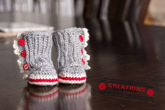 Bottines style Bas de laine pour bébé par CreationTricotFolies
