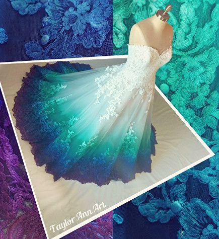 Peacock Wedding Dress Color by TaylorAnnArt | Mermaid Wedding Dress | Colorful Wedding Dress | DipDye Wedding Dress | Peacock Wedding | Fairy Tale Wedding | Unique Wedding |