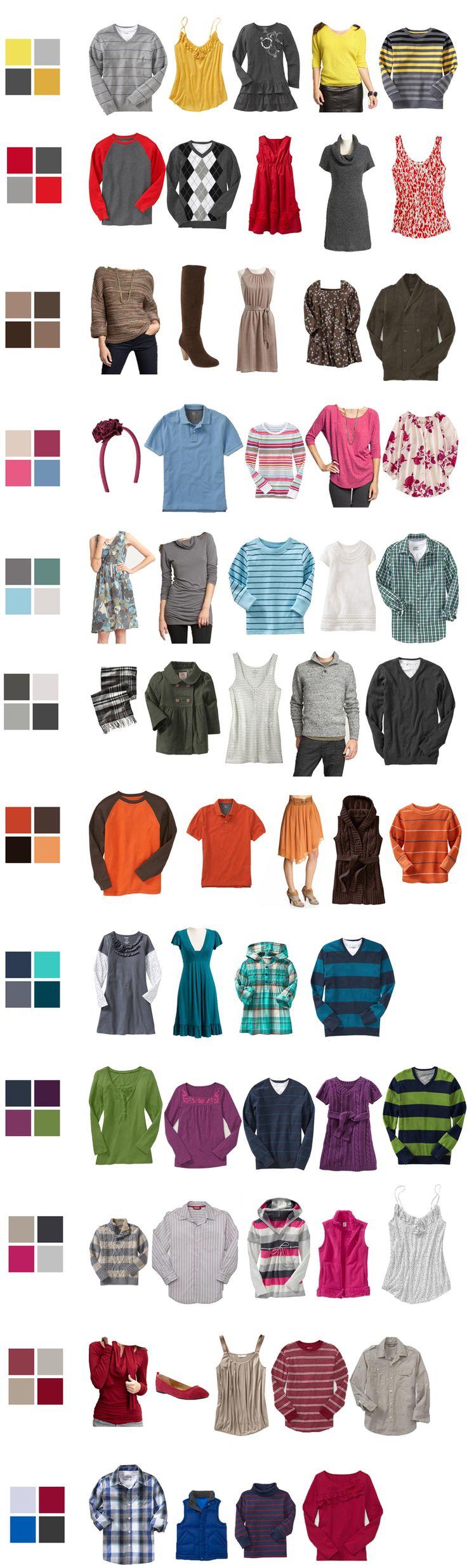 inspiración para uso del color, atuendos para sesion de fotos