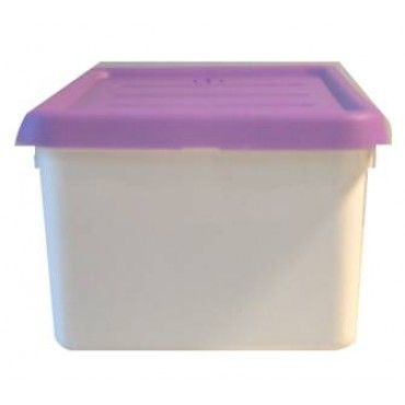 """12 Piece - Accessory Box - Purple DETAILS   Designed for dolls, cars, crafts and more 4.75 quart/ 4.5 litre capacity Snap-on lid ensures contents are kept securely in place Stackable design to maximize storage space Durable resin construction Dimensions: 7"""" wide x 4.25"""" high x 13"""" deep Weight is 10 lbs for 12 pieces"""
