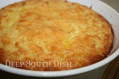 Simplified using Jiffy mix, this is another southern favorite, very souffle like, sort of like a fluffy cornbread. People who love corn love this dish, and it's a perfect holiday side dish. Once you add it, expect that it will be asked for year after year.