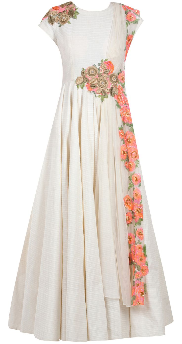 Cream anarkali with floral detailing and attached print patched dupatta, available only at Pernia's Pop-Up Shop.Ridhi Mehra- WANT WANT WANT